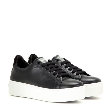 platform black sneakers kenzo platform leather sneakers in black lyst