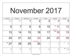 Calendar November 2017 To May 2018 November 2017 Printable Calendar For Free Printable