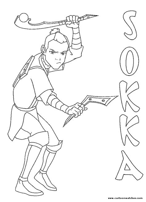 Sokka Coloring Page Avatar Last Airbender Coloring Pages