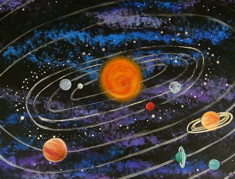 solar system acrylic painting pics about space