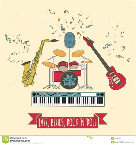 Sila Set Rok N Blus musical instruments graphic template jazz blues rock n roll ba stock illustration image
