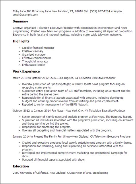 Executive Producer Cover Letter by Resume Templates For Radio Television Broadcasting