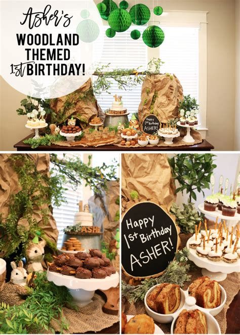 a themed asher s woodland themed first birthday at home with natalie