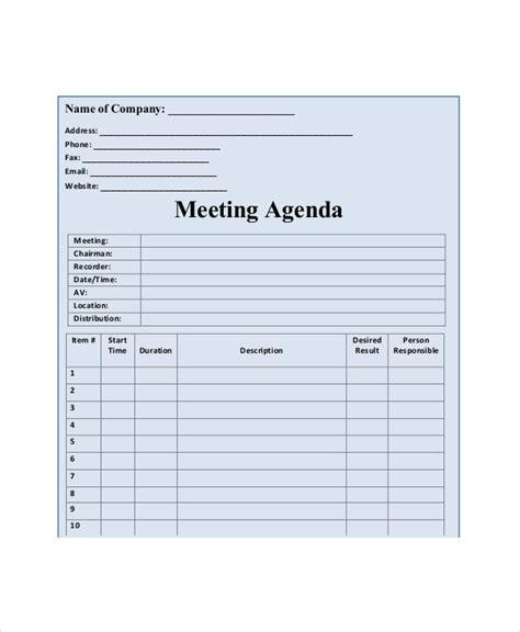 blank meeting agenda template 10 free word pdf