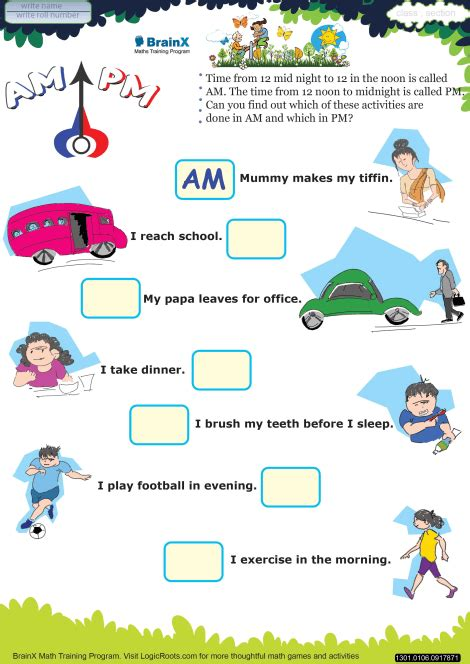 Am And Pm Worksheets by M Math Worksheet For Grade 1 Free Printable Worksheets