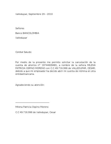 solicitar certificacion bancaria en bancolombia carta cancelacion cuenta