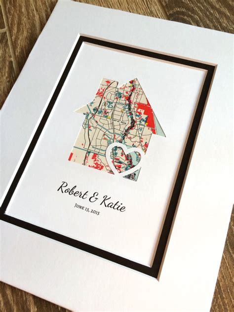 first home housewarming gift personalized home map matted gift first home gift new house