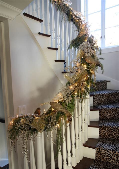 christmas lights for stair banisters 27 christmas staircase decor ideas that you will love