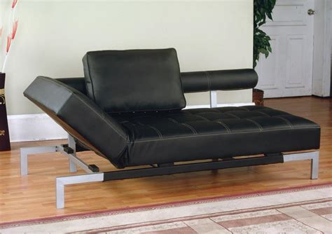 iris futon sofa bed lounger in brown or black faux leather