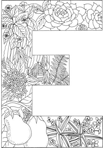 E Coloring Page Printable by Letter E With Plants Coloring Page Free Printable