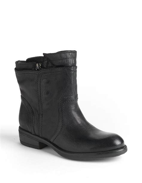 black moto boots vera wang lavender ozita leather moto boots in black lyst