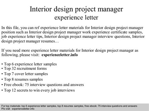 Work Experience Letter For Interior Designer Interior Design Project Manager Experience Letter