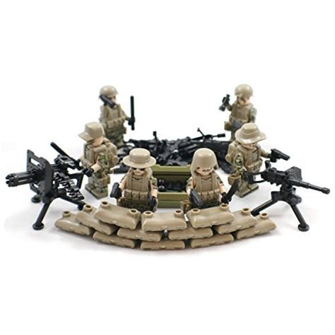 Lego Compatible Heavy Barrey Part Rifle heavy weapons squad army minifigures with sandbags and