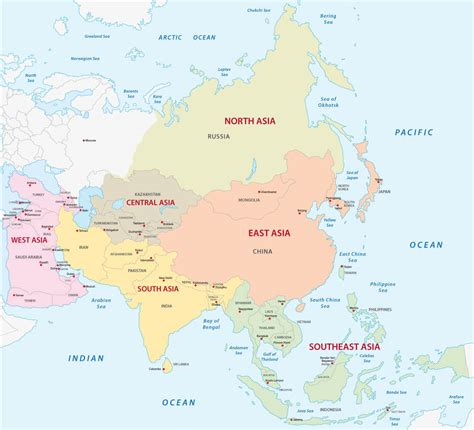 asia map with names map of asia guide of the world