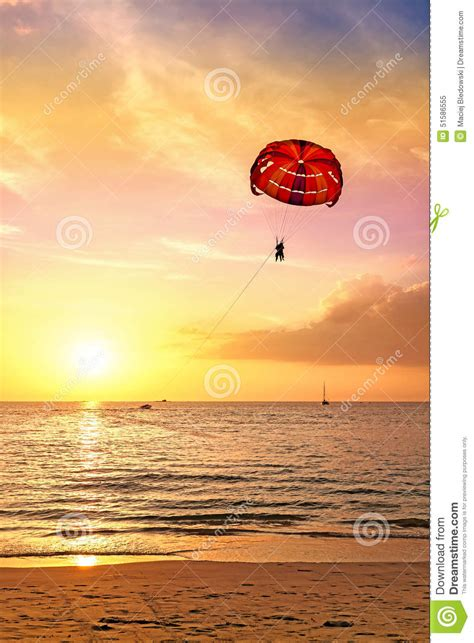 wish you were here postcard template summer postcard paraglider at sunset stock