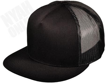 Topi Baseball Snapback Mesh Black new black trucker cap plain mesh baseball snapback fitted flat peak hat ebay