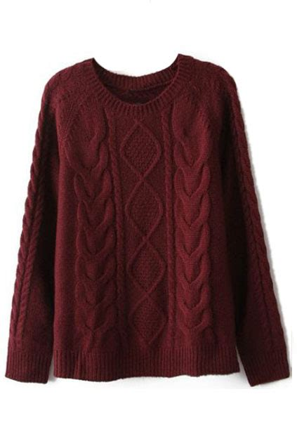 maroon knitted jumper romwe cable knit burgundy jumper the