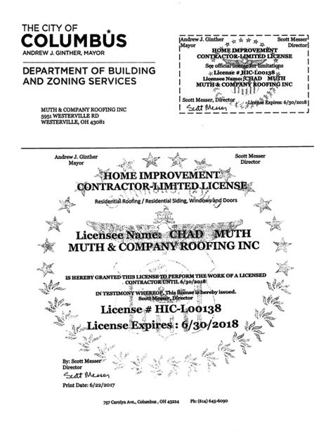 license insurance westerville oh muth company roofing