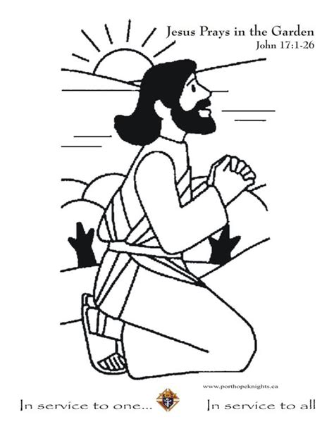coloring page jesus in the garden port hope knights colouring pages