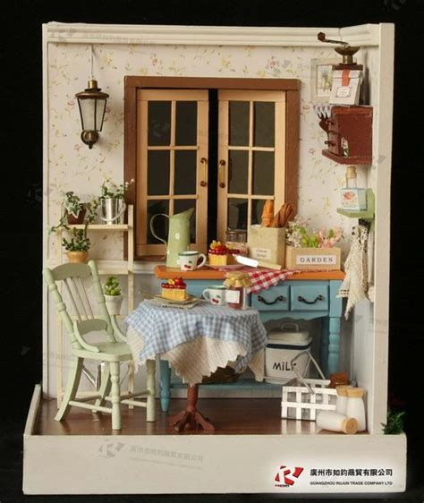 miniture doll houses diy wooden dollhouse miniature kits lodge town series delicious breakfast new