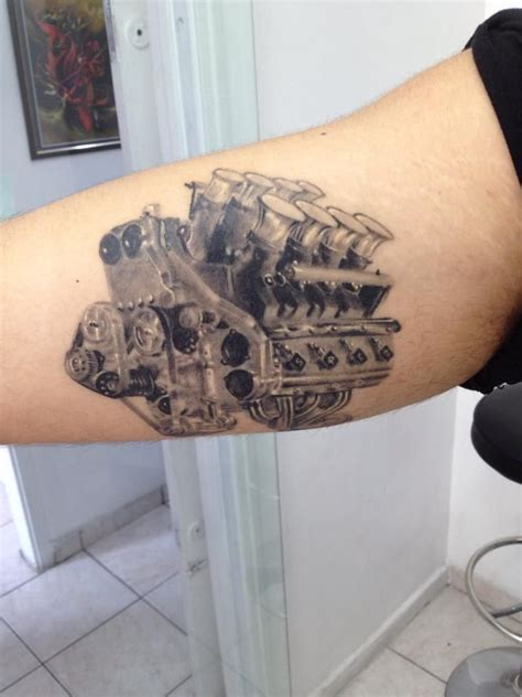 v8 tattoo designs realistic nissan motor v8 healed by andr 233