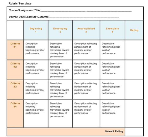 elementary rubric template 10 best images of newspaper rubric template project
