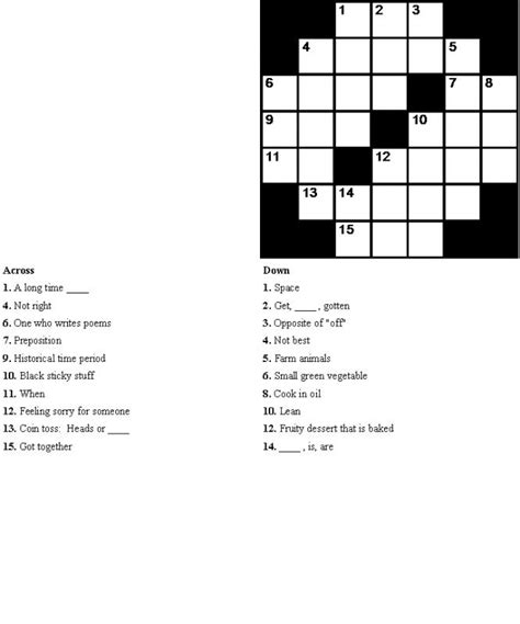 easy crossword puzzles for seniors activity shelter crossword puzzles for esl students easy