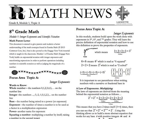 Parent Letter Eureka Math Grade 8 Module 1 Topic A Parent Newsletter Developed By Eureka Math Users Lafayette Parish