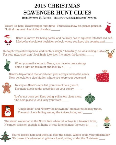 printable christmas scavenger hunt clues 2015 christmas