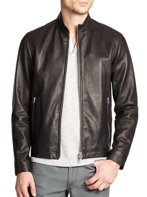 leather bomber jacket theory morveck leather bomber jacket in black for lyst