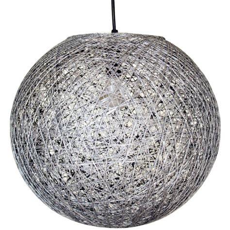 lustre 3 boules suspension boule sisal gris achat vente suspension