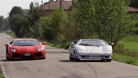Lamborghini Sant Agata Lamborghini Aventador And Countach On The Streets Of Sant