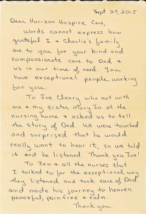 thank you letter to his parents image gallery hospice thank you
