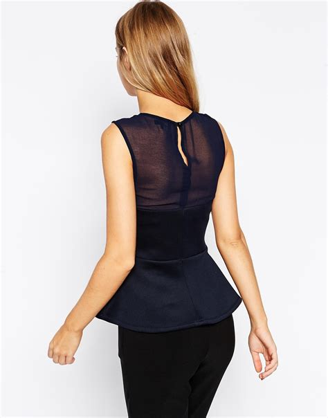 Tops Mix Blue lyst asos peplum top with mixed fabric in blue