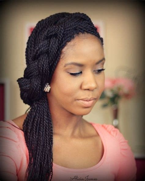 asymmetric headband braid from thin senegalese twists