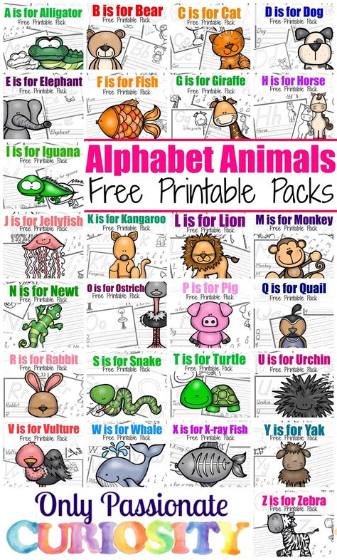 printable alphabet animals letters abc animals the complete series