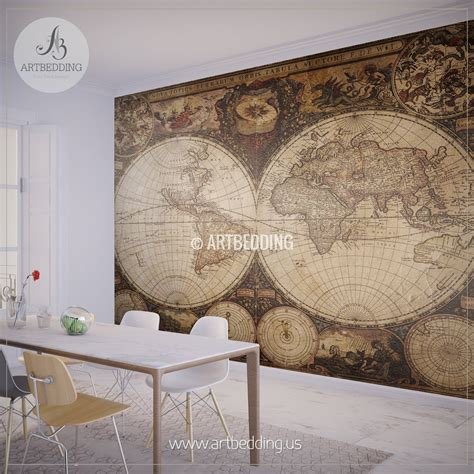 vintage map wall mural self adhesive photo mural artbedding