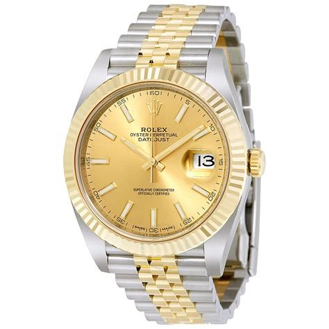 Rollex Gold rolex datejust chagne steel and 18k yellow gold