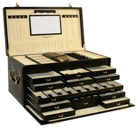 Leather Jewelry Box with Jewelry Roll   Traditional   Jewelry Boxes And Organizers   by ShopLadder