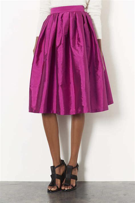 topshop tafetta midi skirt in pink lyst