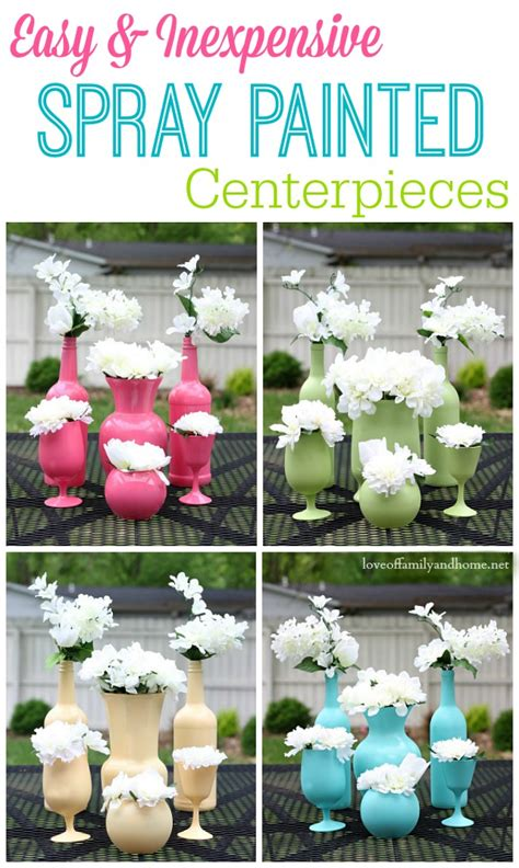 cheap and easy centerpieces easy inexpensive centerpiece ideas spray painted vases
