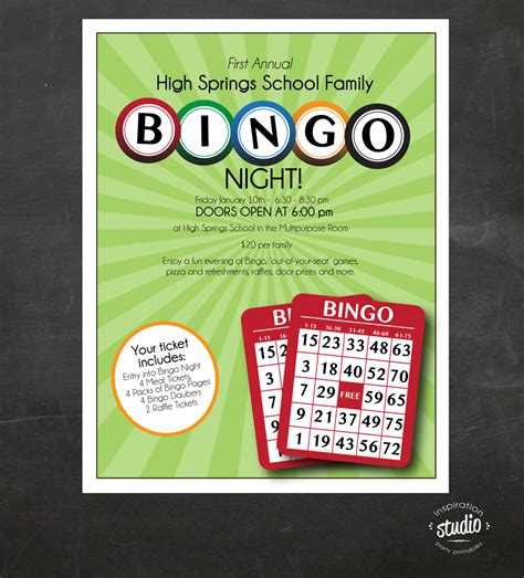 bingo night flyer family mother son night school or church