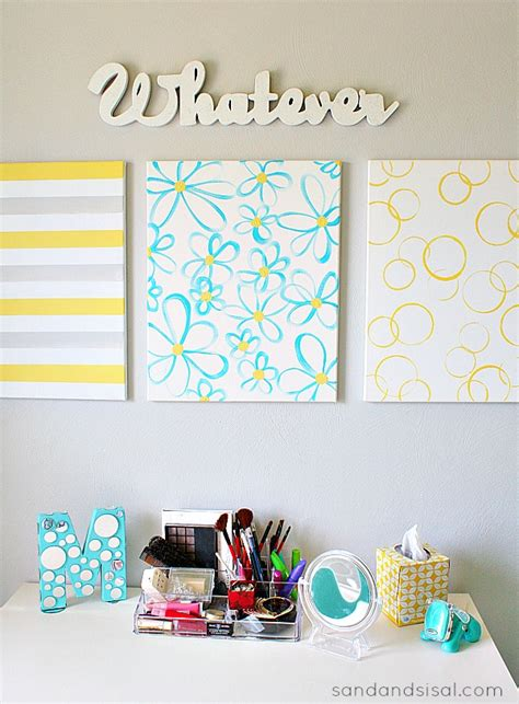 Cute Decorating Ideas For Bedrooms easy diy canvas wall art sand and sisal