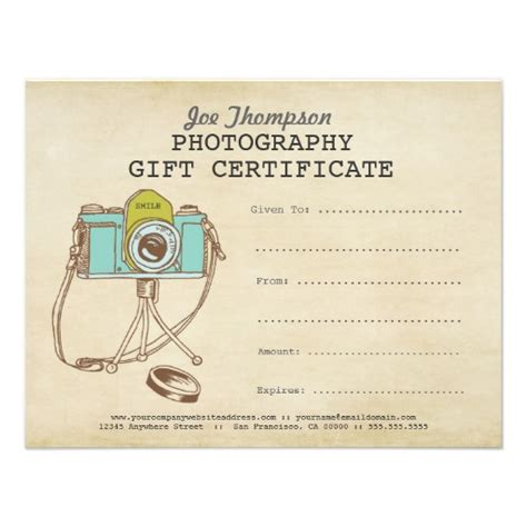 Shoot Card Template by Photographer Photography Gift Certificate Template Gift