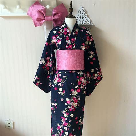 De Kimono Flower japanese kimono traditional cotton bathrobes japan kimono flower yukata bath robe