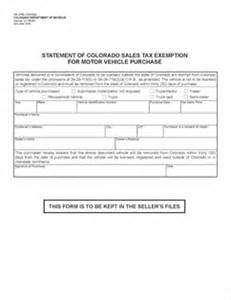 colorado new car sales tax form dr 0780 fillable motor vehicle sales tax exemption
