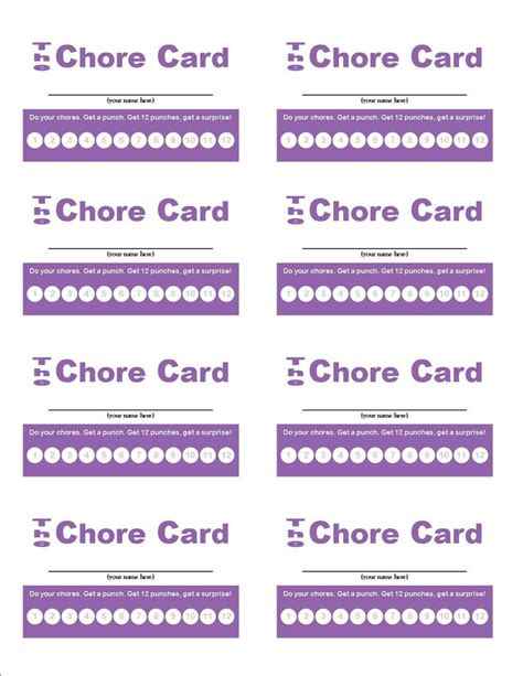 Chore Punch Card Template by Chorecardpurple My Poor Boys