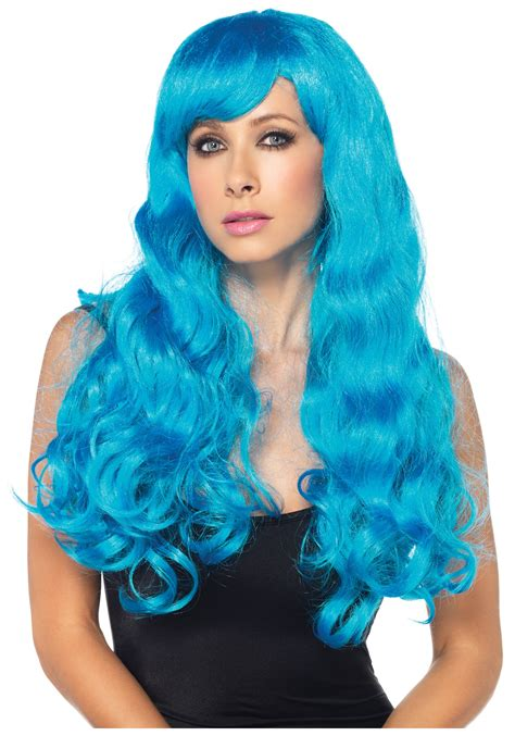 with wig neon blue wig