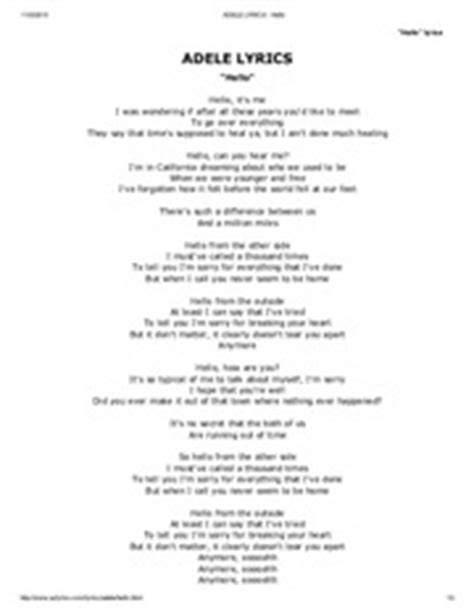 printable lyrics hello adele image gallery jello adele lyrics