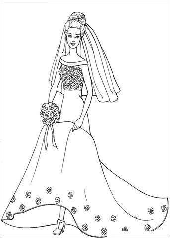 barbie dress coloring page barbie in wedding dress coloring page free printable